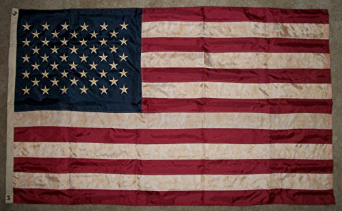 3×5 USA Embroidered Nylon Sewn Flag Vintage Look Aged Old Glory Outdoor Indoor Heavy Duty