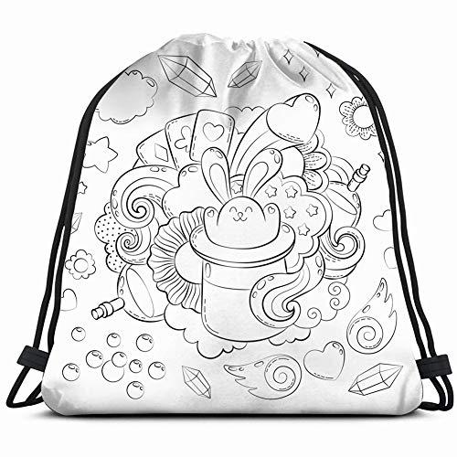 halloween concept hand drawn cartoon doodleadult 3D Print Drawstring Backpack Rucksack Shoulder Bags Gym Bag 17X14 Inch -