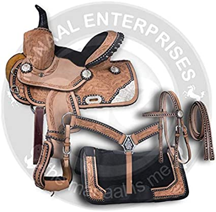 "Manaal Enterprises Premium Leather Western Barrel Racing Adult Horse Saddle Tack, Size 14""-18"" Inches Seat Available,"