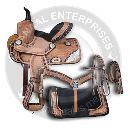 ME Enterprises Premium Leather Western Barrel Racing Adult Horse Saddle Tack 14-18 Inches Seat Available Reins /& Saddle Pad Free Matching Leather Headstall Breast Collar