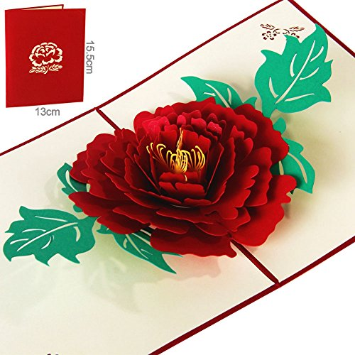 Peony Flower 3D Pop Up Greeting Cards Anniversary Baby Birthday Easter Halloween Children's Mother's Father's Day Home New Year Thanksgiving Christmas Valentine Wedding (Halloween Valentine Cards)