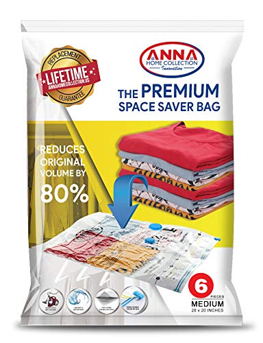 Anna Home Jumbo Vacuum Storage Bags (6 Medium) Space Saver Storage Bags. Durable and Reusable Vacuum Sealer Bags for Clothes Storage, Travel Hand Pump Included