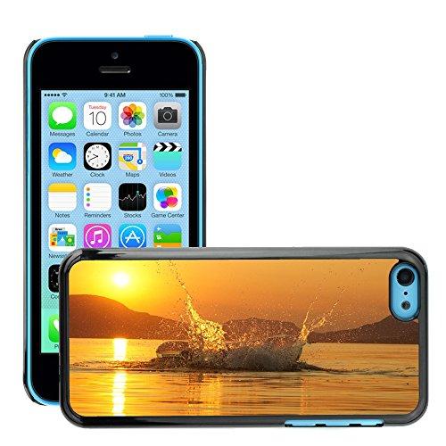 Stampato Modelli Hard plastica Custodie indietro Case Cover pelle protettiva Per // M00421768 Lac Balaton Splash Sunset // Apple iPhone 5C