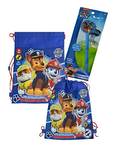 Nickelodeon Paw Patrol Inspired Happy Halloween Trick or Treat Draw String Tote Bag! Featuring Chase, Marshall & Rubble! Plus Bonus Paw Patrol Glow Wand! -