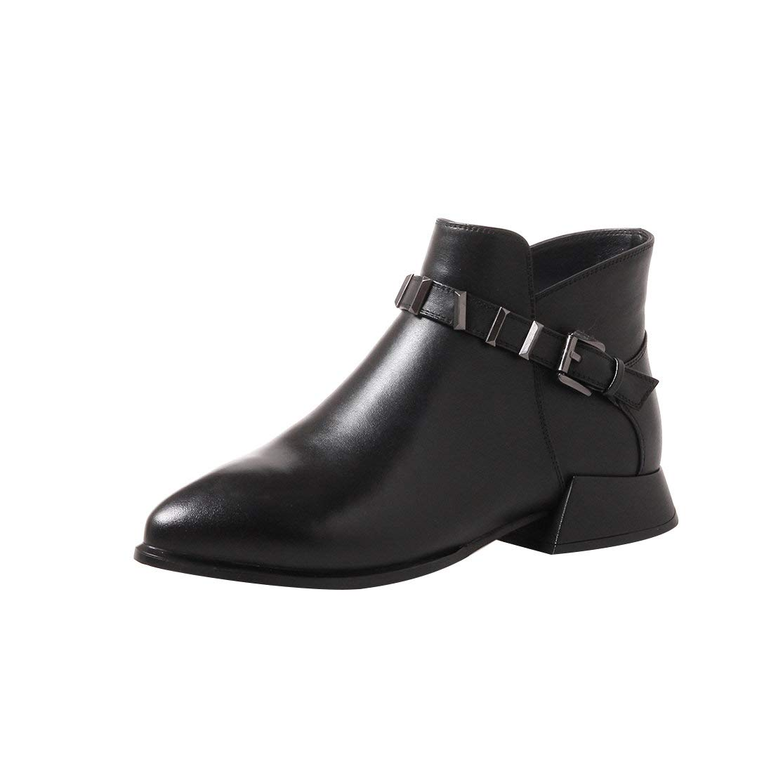 Black MAYPIE Womens Toanywh Leather Zipper Ankle Boots