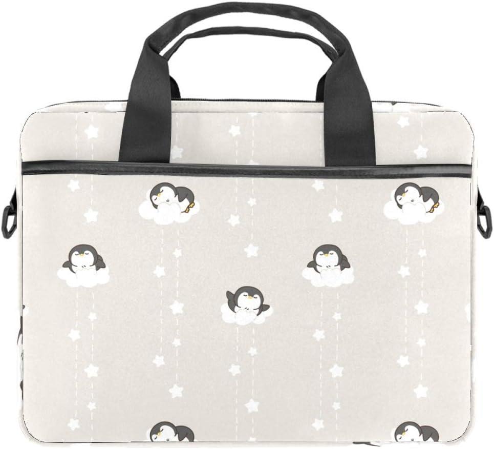 TIZORAX - Bolsa para portátil con asa (15-15,4 pulgadas), diseño de pingüino en nubes
