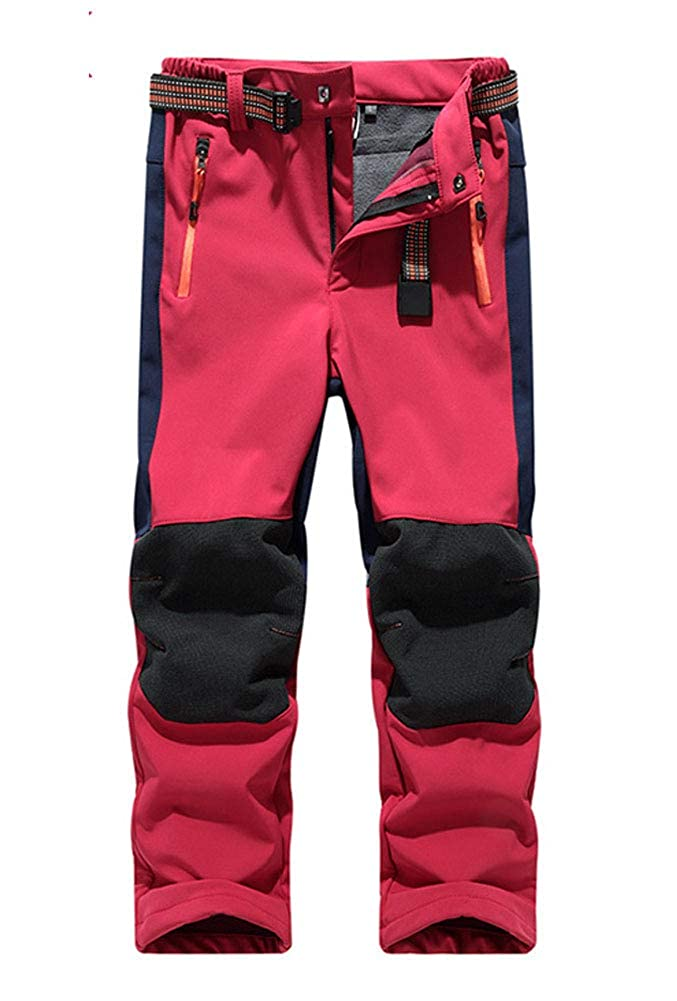 SANKE Kids Outdoor Hiking Soft Shell Windproof Pants Warm Trousers Boys Girls