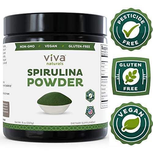 Non-GMO Spirulina Powder, 8 oz: Non-Irradiated, California-Grown and Pesticide-Free — The Finest Green Superfood for Smoothies and Juices - Natural Hawaiian Spirulina