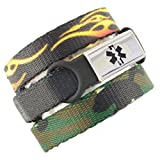3 Pack Kid's Medical Alert Bracelets | Children's Medical ID Bracelets | Free Engraving | Adjustable | Value Pack (3 Bracelets) - Fire & Camo