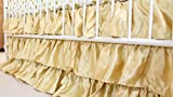 Solid 3 Tiered Ruffled Satin Crib Skirt - Fits standard cribs (Gold)