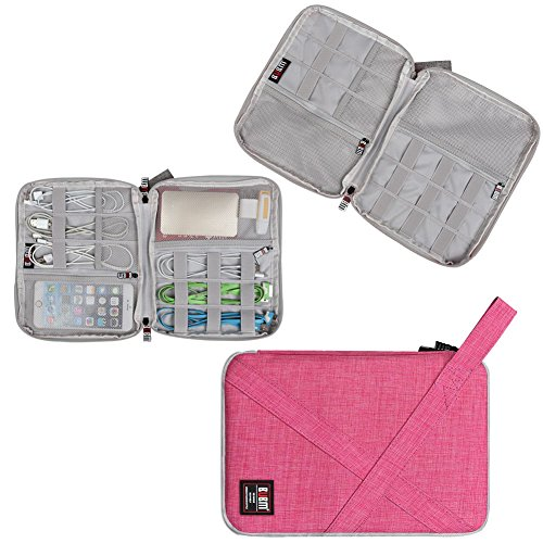 Travel Organizer, BUBM Universal Travel Gear Organizer/Electronics Accessories Bag/Cable Bag/USB Drive Shuttle Case-Rose Red