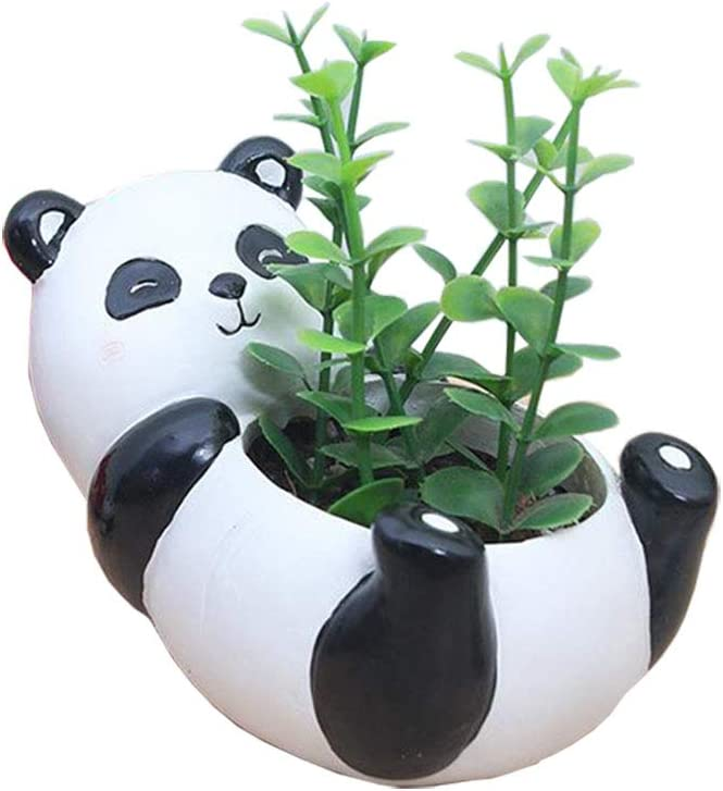 Youfui Cute Panda Flowerpot Animal Resin Succulent Planter Desk Mini Ornament