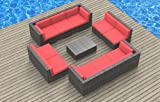 UrbanFurnishing.net 11a-Bermuda-coralred 11 Piece Modern Patio Furniture Sofa Sectional Couch Set