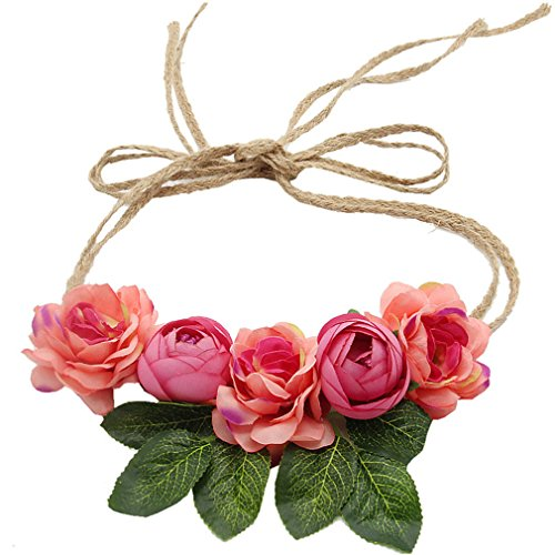(Bride Bohemian Flower Headband Party Floral Crown Headwear For Women Floral Garlands Adjustable Wedding Hair Wreaths as show)