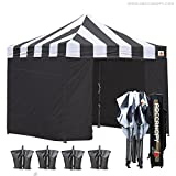 ABCCANOPY 10 X 10 Carnival Ez Pop up Canopy Tent Commercial Instant Gazebos with 6 Removable Sides and Roller Bag Bonus 4x Weight Bag (Carnival back Roof with black walls) For Sale