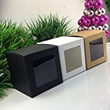 Saasiiyo Wholesale 10x10x10cm Black Window Box Packing Custom Gift Boxes Candy/Cake/Soap/Cookie/Cupcake Display packaging Box