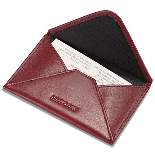 HISCOW Envelope Business Card Case with Magnet Closure - Italian Calfskin (Wine Red)