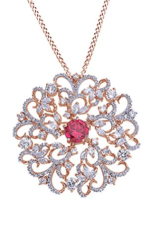 AFFY Simulated Ruby & CZ Flower Swirl Brooch Pin Medallion Vintage Pendant Necklace in Rose Gold Over Brass