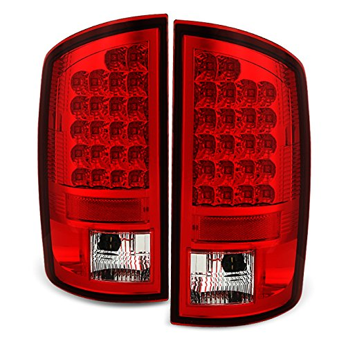 For 02-06 Ram 1500 03-06 Ram 2500 3500 Pickup Red Clear LED Tail Lights Brake Lamps Replacement Pair