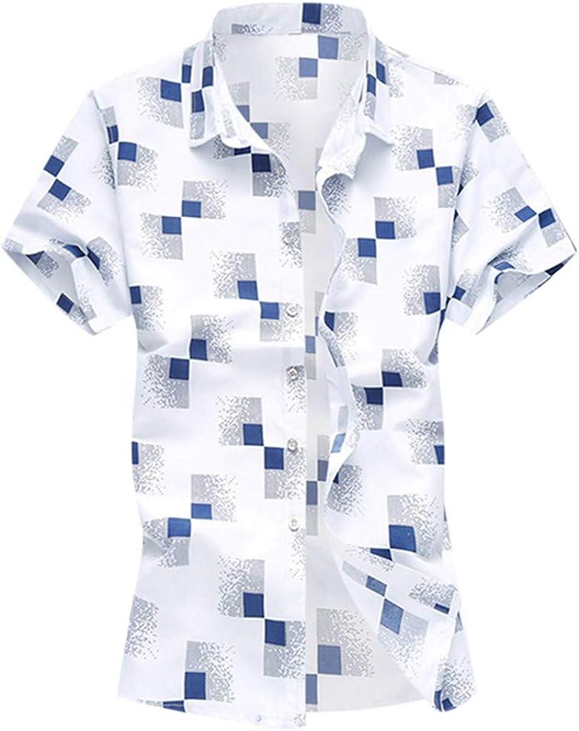Innerternet-Camisa de Hombre, G-05 Camisa de Manga Corta Floja Ocasional de la impresión geométrica Ocasional del Verano de los Hombres(Azul/Armada/Blanco, M-XXXXXXL): Amazon.es: Ropa y accesorios