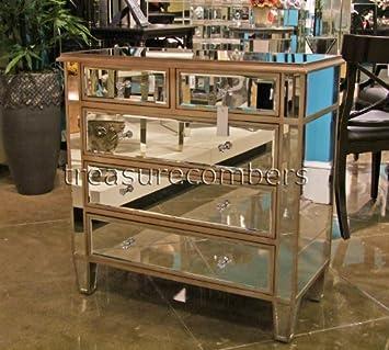 Glam Mirrored 5 Drawer Storage Chest Dresser