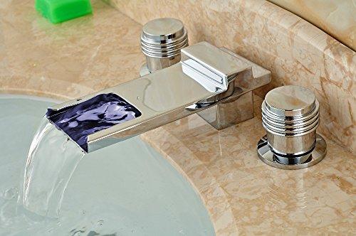 Sukmw Led Waterfall Spout Chrome Brass Bathroom Faucet 8\