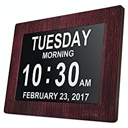 American Lifetime - Day Clock - Extra Large Impaired Vision Digital Clock with 4 Alarm Options & Battery Backup (Wood)