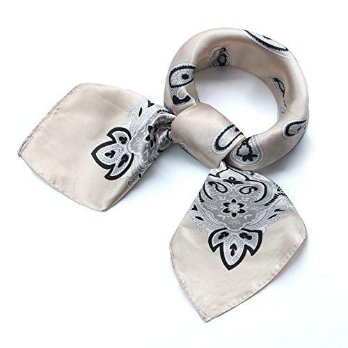 QBSM Womens Paisley Pattern Large Square Satin Silk Neck Head Hair Scarf Wraps Neckerchief for Sleeping Beige 23.6 inch (Paisley Silk Belt)