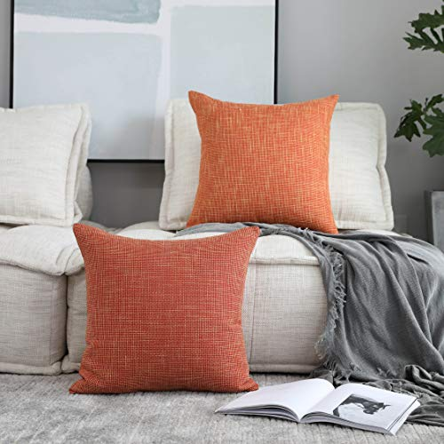 Kevin Textile Faux Linen Square 2 Tone Woven Throw Pillow Sham Cushion Case Covers for Car/Couch Use, 16-inch(2 Packs, ()