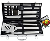 ROMANTICIST 20pc Heavy Duty BBQ Grill Tool Set with Cooler Bag for Men Dad in Gift Box - Outdoor Camping Tailgating Barbecue Grill Accessories in Aluminum Case