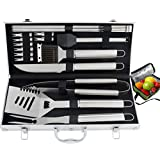 ROMANTICIST 19pc Grill BBQ Accessories Set with Aluminum Case on Christmas- Heavy Duty Stainless Steel Grill BBQ Tool Set for Men Dad Women - Professional Barbecue Accessories for Outdoor Camping Tailgating