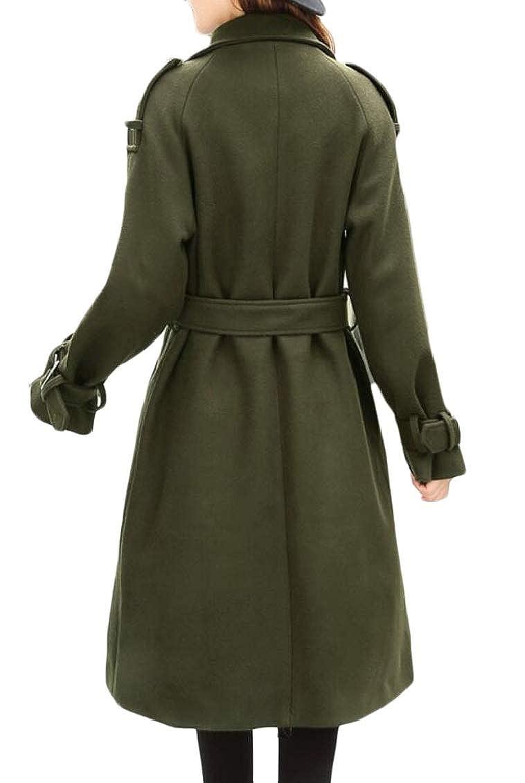 Jaycargogo Women Outerwear Double Breasted Belted Woolen Mid Long Length Trench Coat Jackets