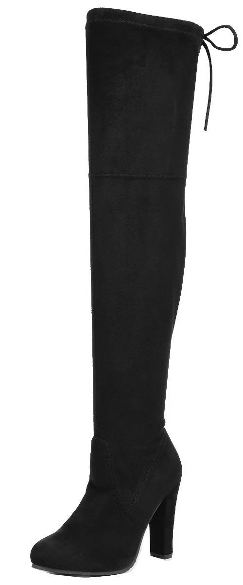 Forever Link Women's Stacked Chunky Heel Stretch Thigh High Pull On Boot,Black,8 by Forever Link