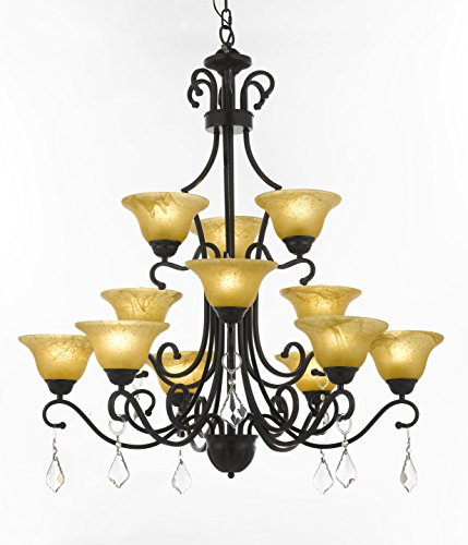 Chandelier Large Foyer Entryway Lighting Country French 3 Tiers 12 Lights , , ht39 X wd36 Ceiling Fixture (Tier Foyer Pendant)