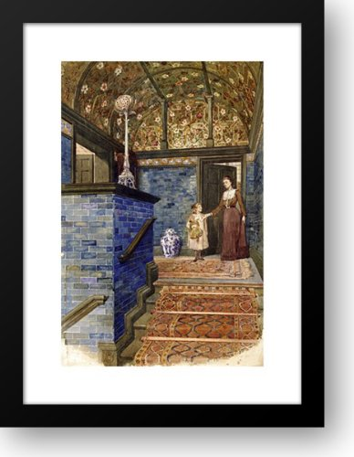 Staircase Hall With William De Morgan Tiles 19x24 Framed Art Print by Crawford, T. hamilton