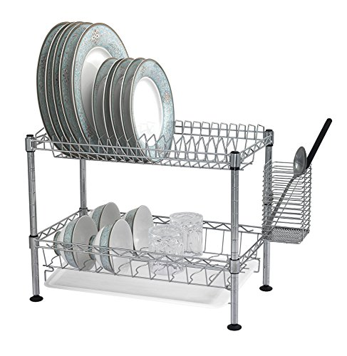 kitchen organizer 2 tier steel wire dish rack dryer with plastic tray chrome ebay. Black Bedroom Furniture Sets. Home Design Ideas