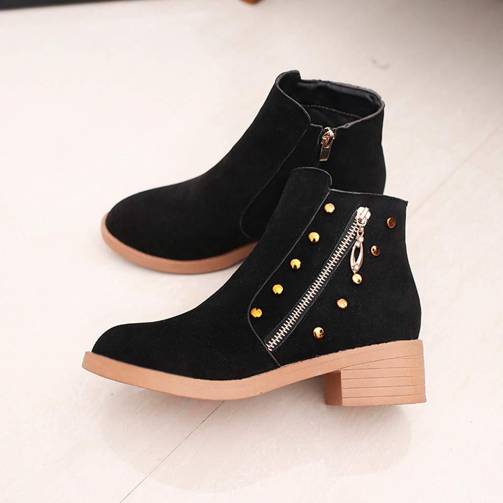 Amazon.com | REYO Womens Waterproof Mid Heel Round-Toe Zipper Non-Slip Short Tube Walking Outdoor Shoes Boots | Boots