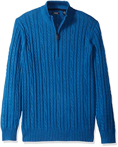 IZOD Men's Cable Solid 1/4 Zip Sweater, Brigth Cobalt, Medium (Sweater Izod Cable)