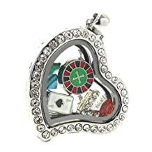 Casino Gambling Heart Locket Necklace D3 Crystal Beads Mini Charms Ball Chain