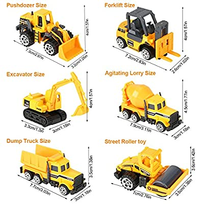 GLOGLOW 6pcs Kids Alloy & Plastic Engineering Car Dump Trunk Toy Mini Construction Vehicle Model, Birthday Gift for Toddler Children: Toys & Games
