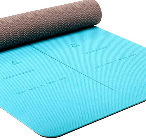 Heathyoga Eco Friendly Non Slip Yoga Mat, Body Alignment System, SGS Certified TPE Material – Textured Non Slip Surface…
