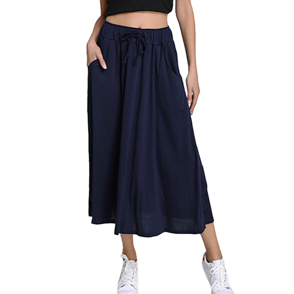 TWGONE Pocket Skirt for Women Summer Long Midi Pleated Solid Color Elastic Waist Skirts(X-Large,Navy)