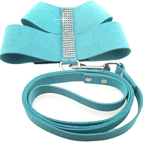 DOGGYZSTYLE Bling Rhinestone Dog Harness Vest Korea Suede Leather Soft Puppy Pet Harness and Leash (L, Blue) ()