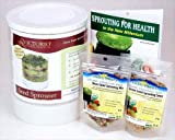 Kitchen Crop Sprouting Kit - Includes Victorio 4 Tray Sprouter, Sprouting Book, Organic Alfalfa, Lentil & Bean Salad Sprout Mix - Makes Over 3 Lbs of Sprouts
