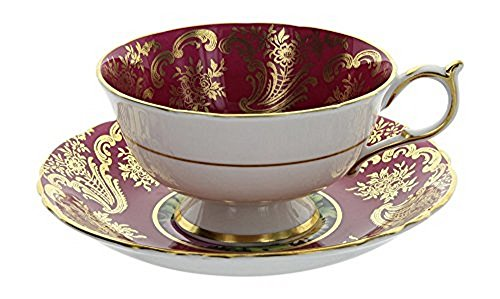 Bone Paragon China (Vintage Paragon England Bone China Red & Gold Gilt Floral Pattern Tea Cup and Saucer Set)