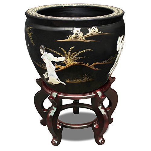ChinaFurnitureOnline Porcelain Fishbowl, 16 inches Hand Painted Landscape with Mother Pearl Inlay Courtly Ladies Motif in Black Glaze