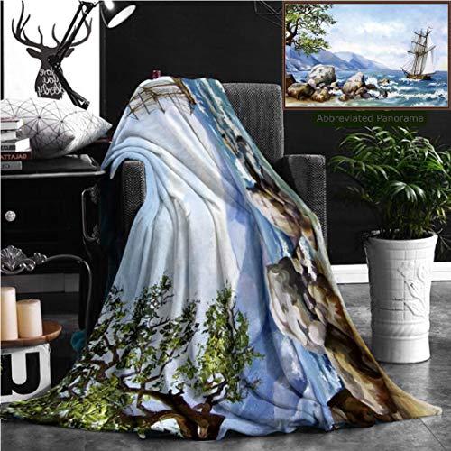 Nalagoo mantas de franela personalizadas únicas para pintura al óleo sobre lona, vista callejera del río Londres y...