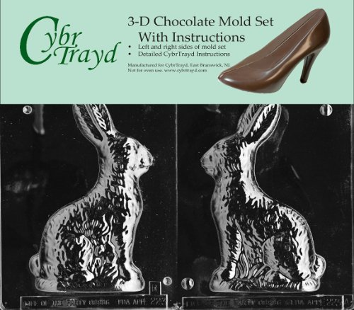 Bunny Mold (Cybrtrayd E223AB 8-Inch Sitting Bunny Chocolate Candy Mold Bundle with 2 Molds and Exclusive Cybrtrayd Copyrighted 3D Chocolate Molding Instructions)