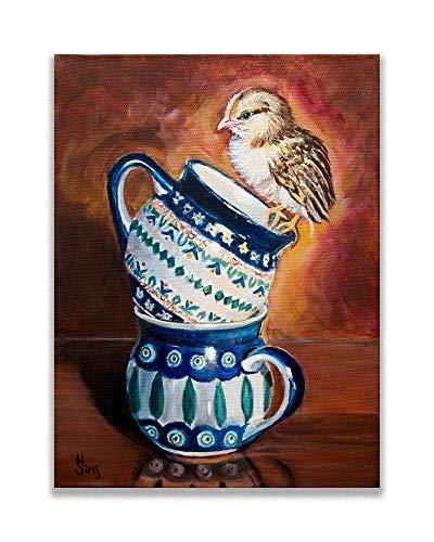 Polish Pottery Mug Baby Chick Kitchen Art Print Giclee Farmhouse Kitchen Wall Decor, Size options