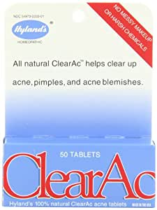 Hyland's ClearAc 100% Natural Acne Tablets, 50 Tablets (Pack of 3)